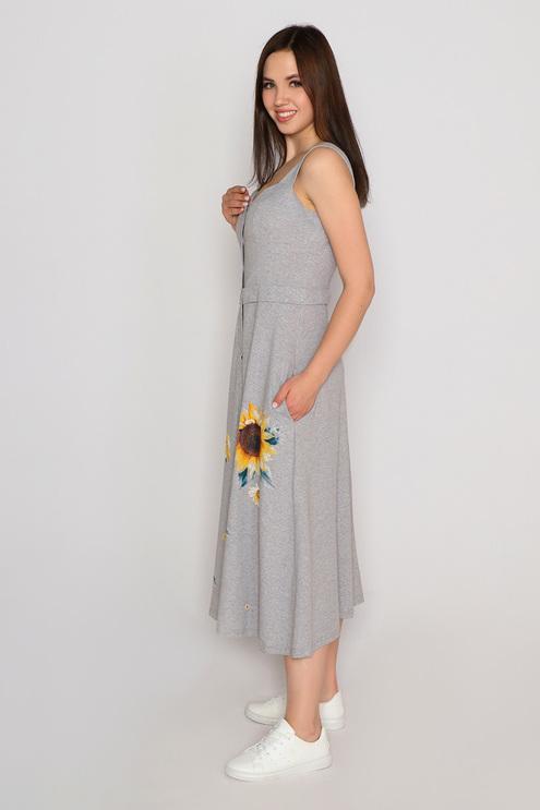 "Платье ""Подсолнух"", серый меланж"