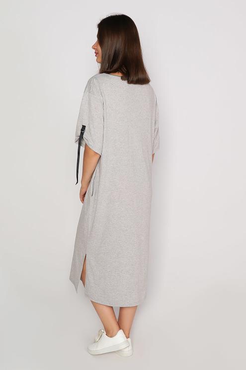 "Платье ""Теория"", серый меланж/хаки"